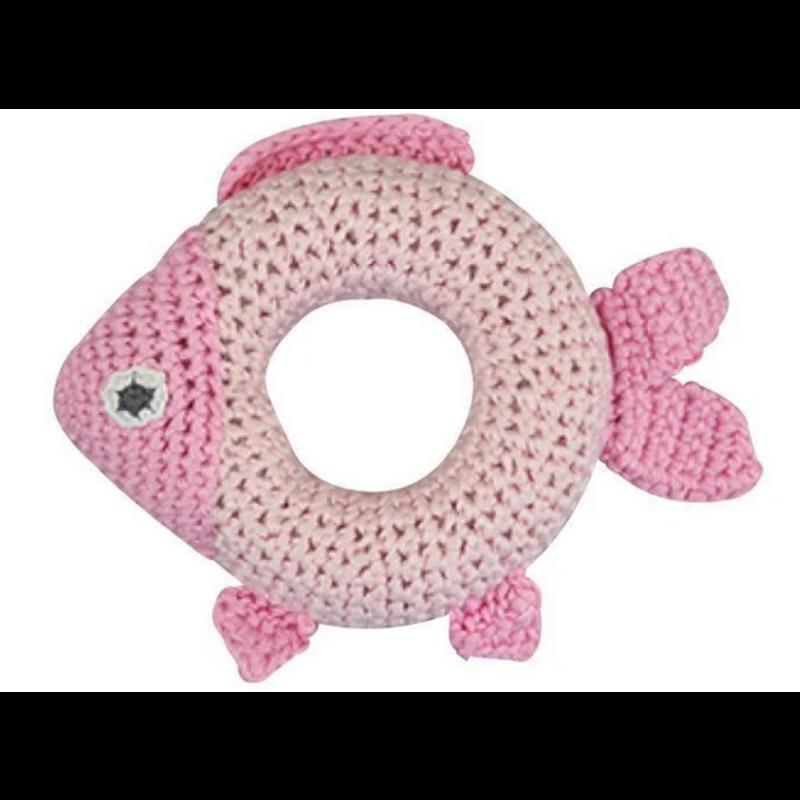 "Zubels Zubels Organic Pink Fish Crochet 5"" Knit Rattle"