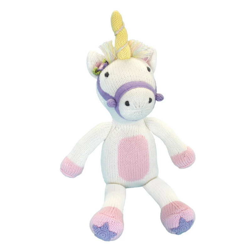 """Zubels Zubels Twinkle The Unicorn 14"""" Knit Doll"""
