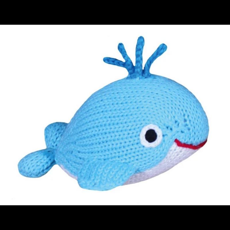 """Zubels Zubels Watson The Little Whale 6"""" Knit Rattle"""