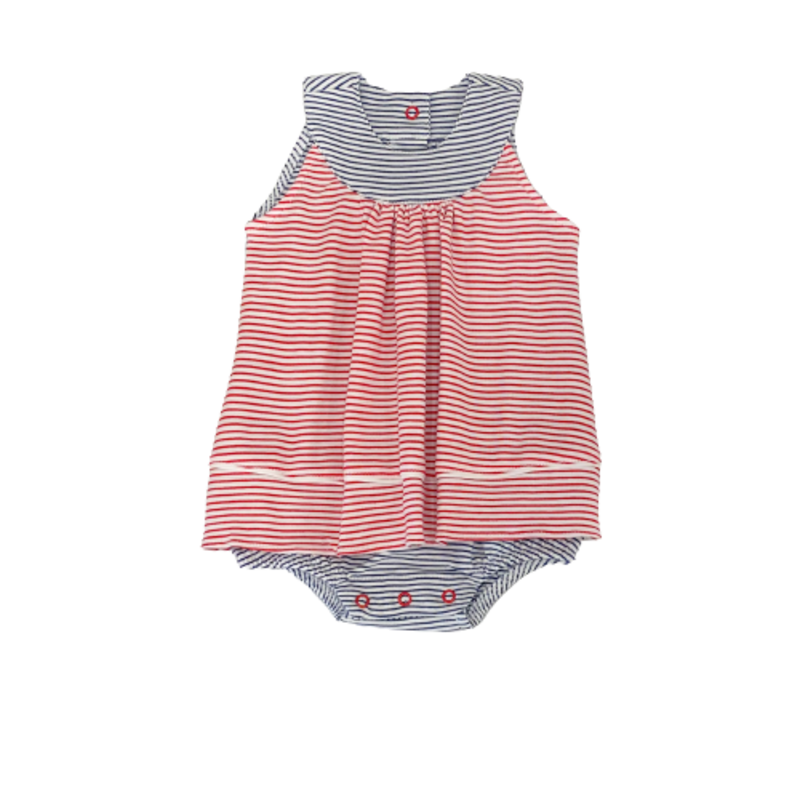 Squiggles Squiggles Red/Navy Stripe Apron Front Romper