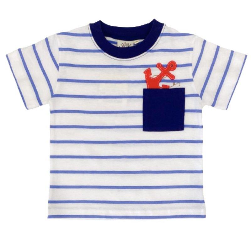 Luigi Luigi Dark Chambray Stripe Anchor Pocket T-Shirt