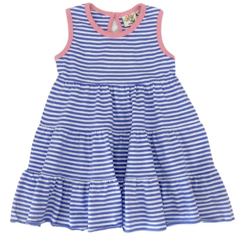 Luigi Luigi Dark Chambray Stripe/Light Bubblegum Three-Tier Dress