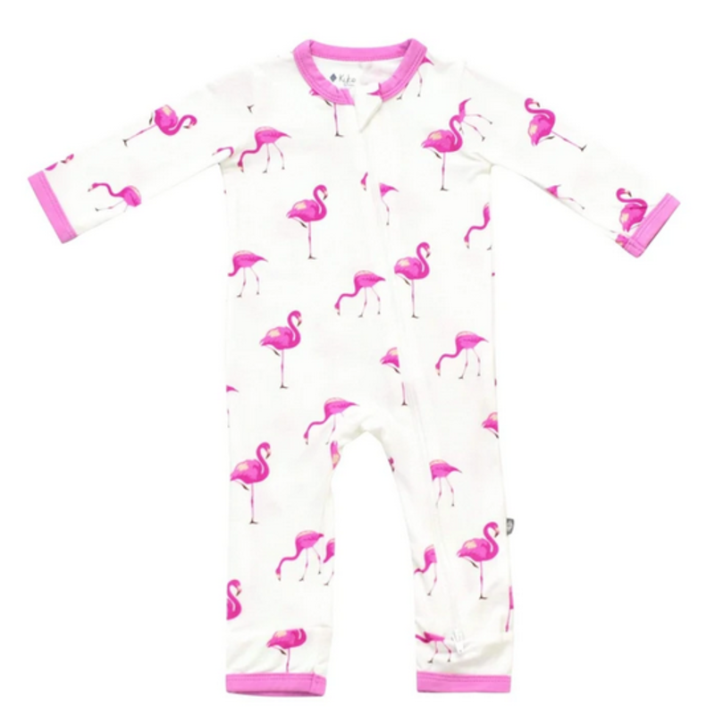 Kyte Baby Kyte Baby Flamingo Printed Zippered Romper