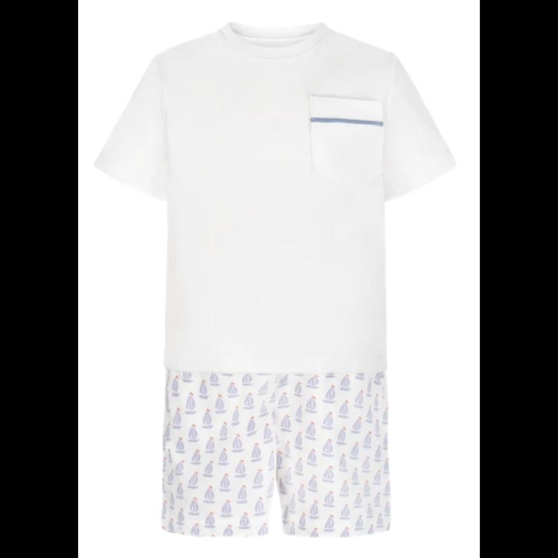 Lila + Hayes Lila + Hayes Hudson- White Pocket T-shirt & Nantucket Shorts Set
