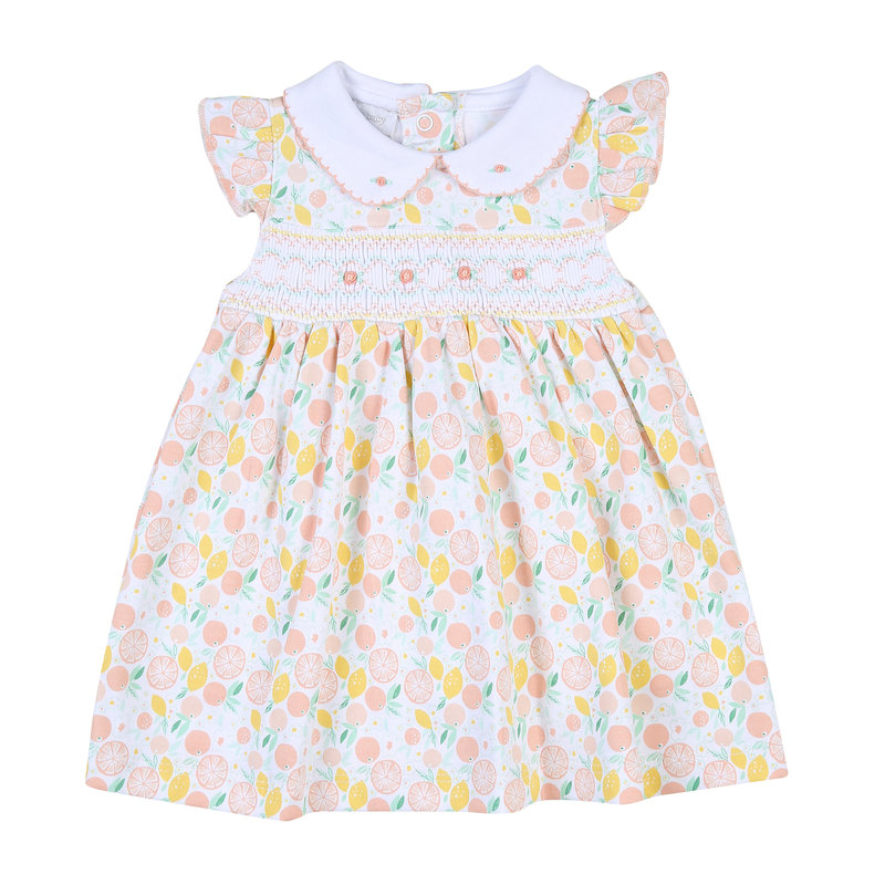 Magnolia Baby Mangnolia Baby Citrus Bouquet Smocked Collared Flutters Dress Set