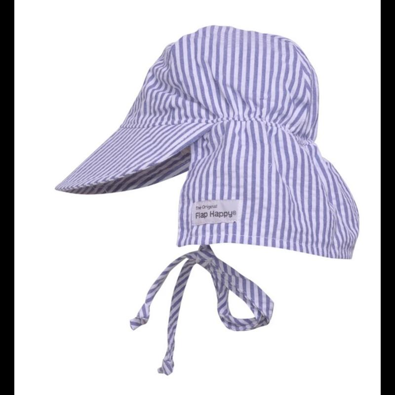 Flap Happy Flap Happy Chambray Seersucker Original Flap Hat with Ties