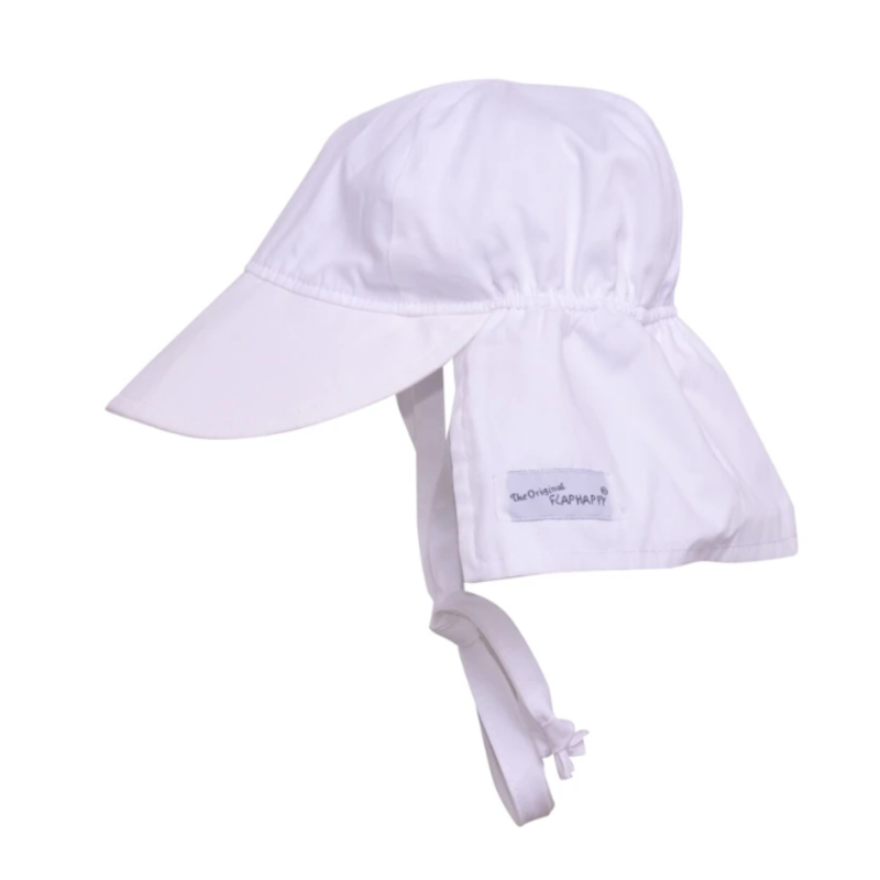 Flap Happy Flap Happy White Original Flap Hat with Ties