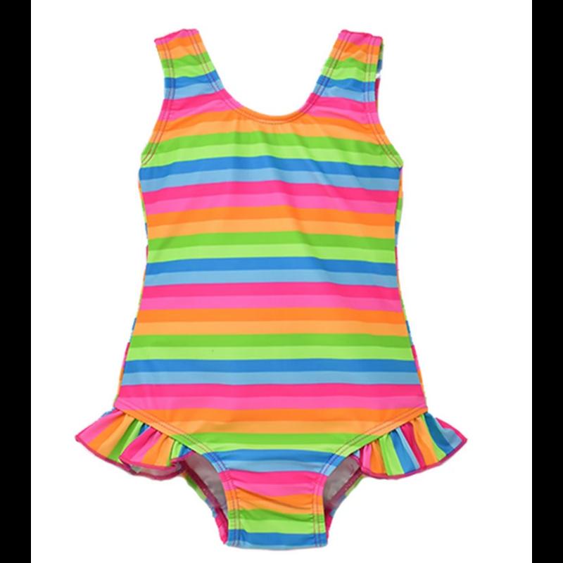 Flap Happy Flap Happy Delaney Hip Ruffle Swimsuit - Neon Stripe