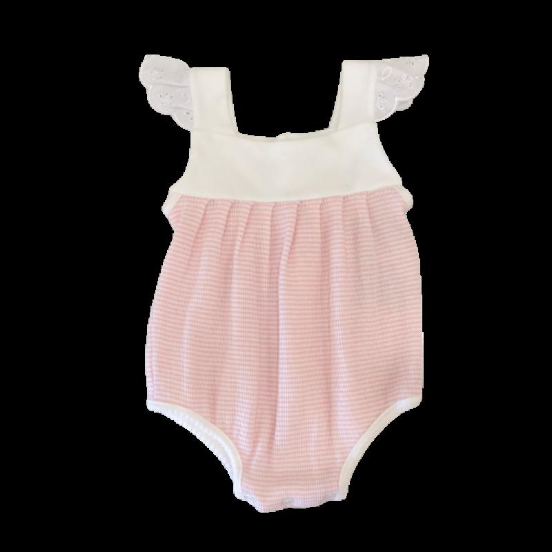 Paty Paty Pink Rib Knit Girls Sunsuit with Eyelet Trim