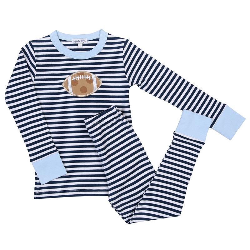 Magnolia Baby Magnolia Baby Football Stripes Blue Long Pajama