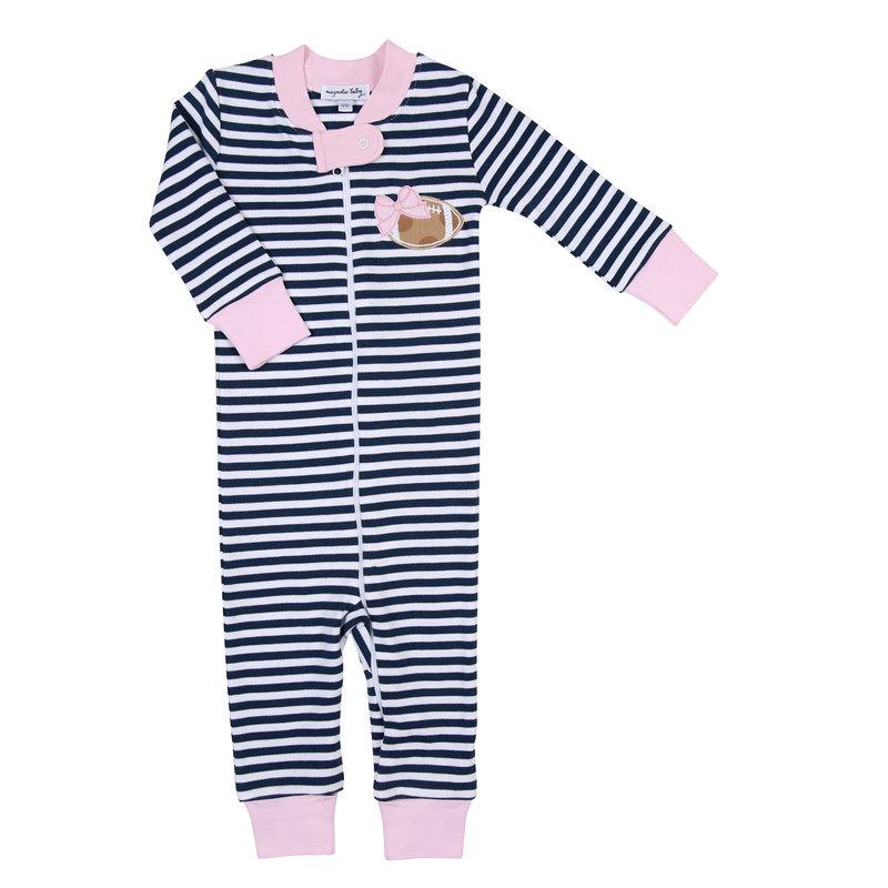 Magnolia Baby Magnolia Baby Football Stripes Pink Zipped Pajama