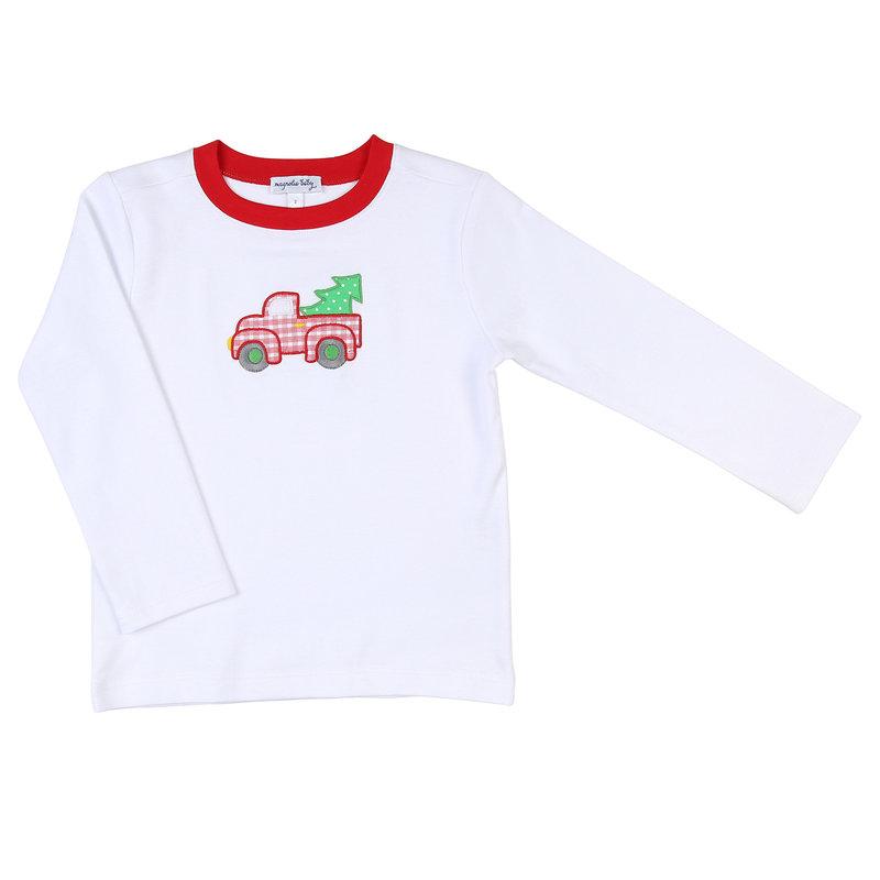 Magnolia Baby Magnolia Baby Our Christmas Tree Applique LS T-Shirt