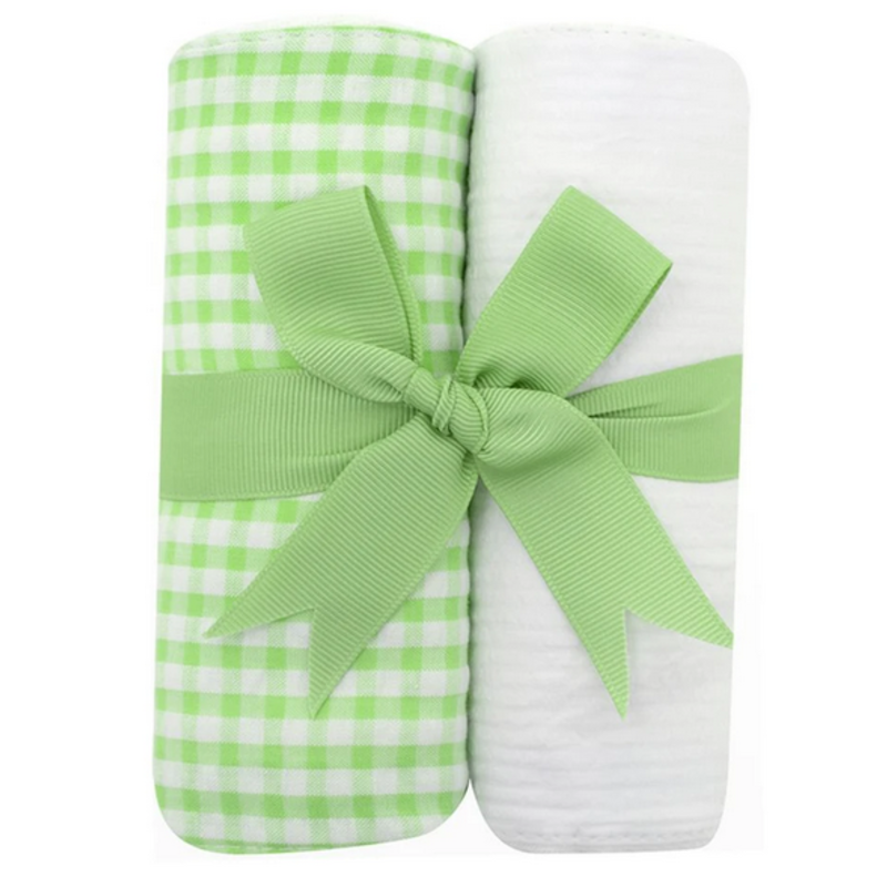 3 Marthas 3 Marthas Green Check Set of Two Burp Cloths