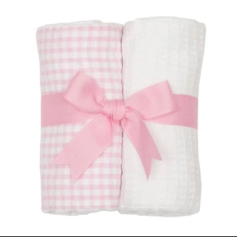 3 Marthas 3 Marthas Pink Check Set of Two Burp Cloths