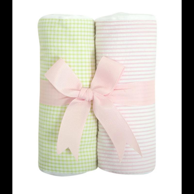 3 Marthas 3 Marthas Pink Lamb Set of Two Burp Cloths