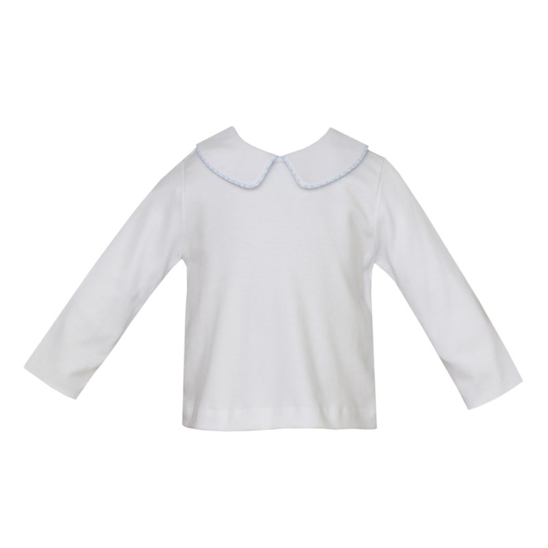 Petit Bebe Petit Bebe White Turkey Shirt W/ Blue Piping
