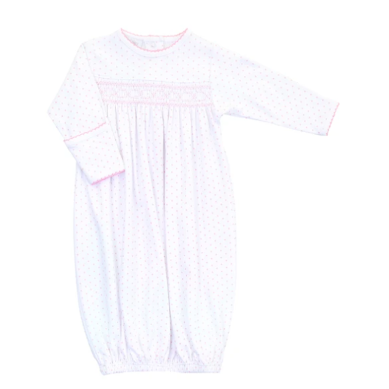 Magnolia Baby Magnolia Baby Essentials Mini Dot Smocked Gown - Pink