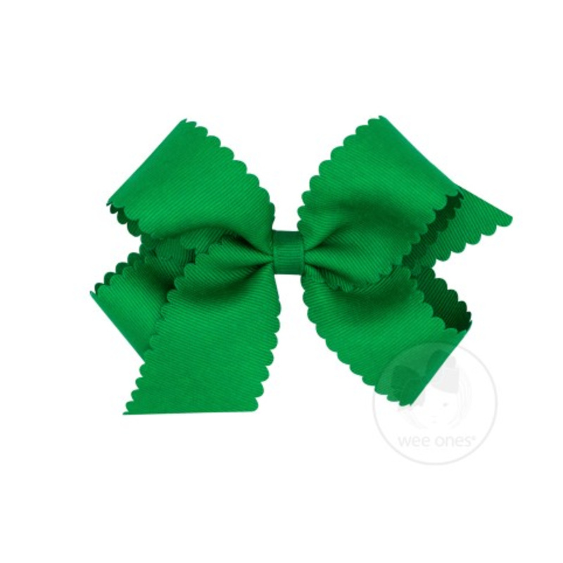 Wee Ones Bows Wee Ones Medium Green Scallop Edge Bow