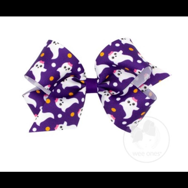 Wee Ones Bows Wee Ones Medium Purple Ghost Print Bow