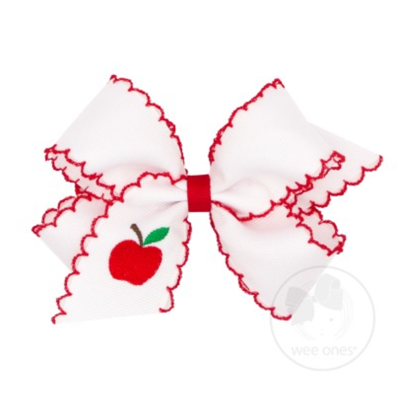 Wee Ones Bows Wee Ones Medium Apple Embroidered Bow