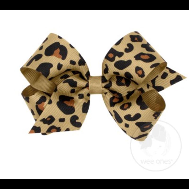 Wee Ones Bows Wee Ones Medium Tan Leopard Print Bow