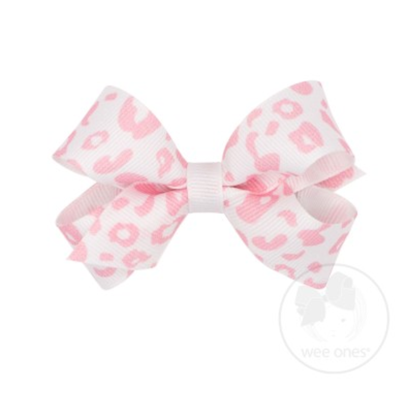 Wee Ones Bows Wee Ones Mini White/Pink Leopard Print Bow