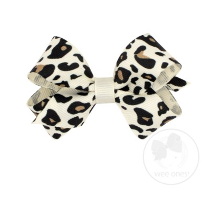 Wee Ones Bows Wee Ones Mini White Leopard Print Bow