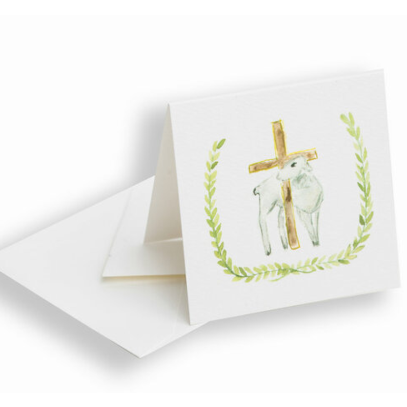 Over the Moon Lamb And Cross Enclosure Card