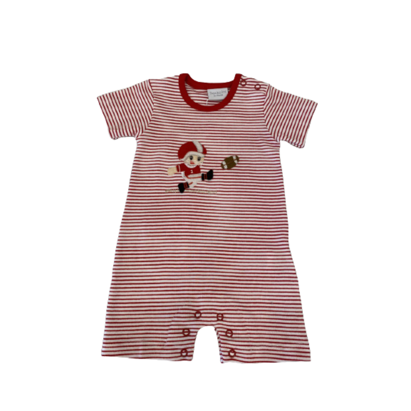 Squiggles Squiggles Red/White Stripe Football Kicker Romper