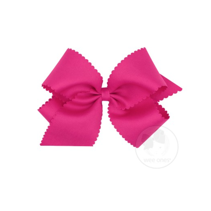 Wee Ones Bows Wee Ones King Shocking Pink Scallop Edge Bow
