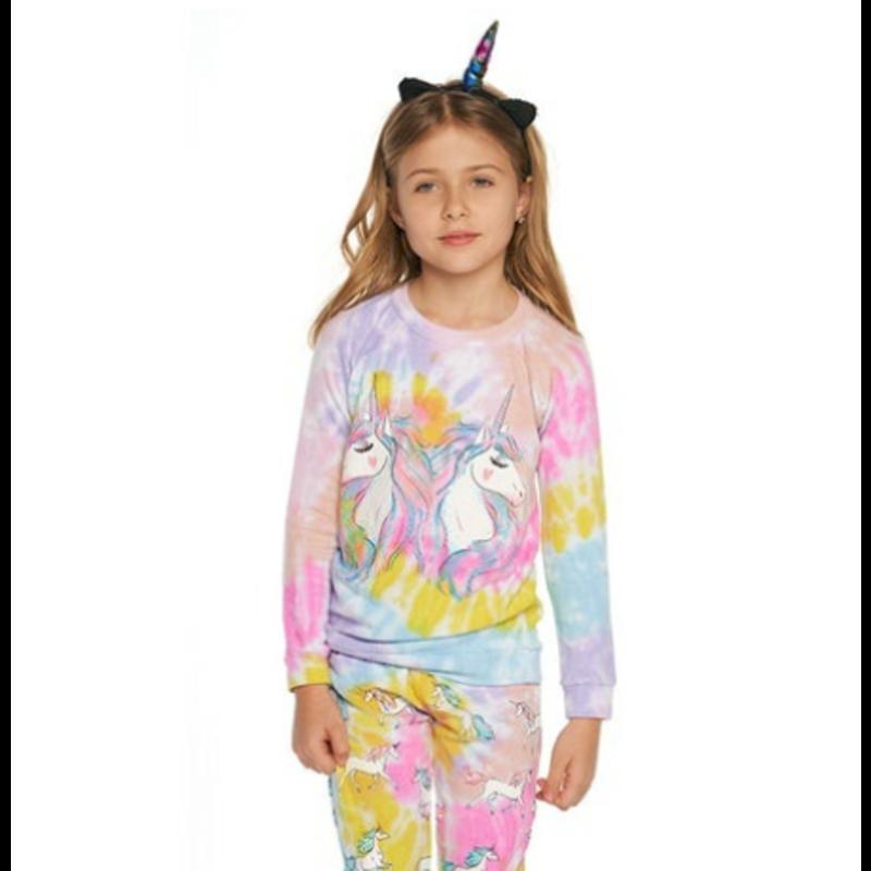 Chaser Chaser Unicorn Glow Tie Dye Knit Raglan Pullover