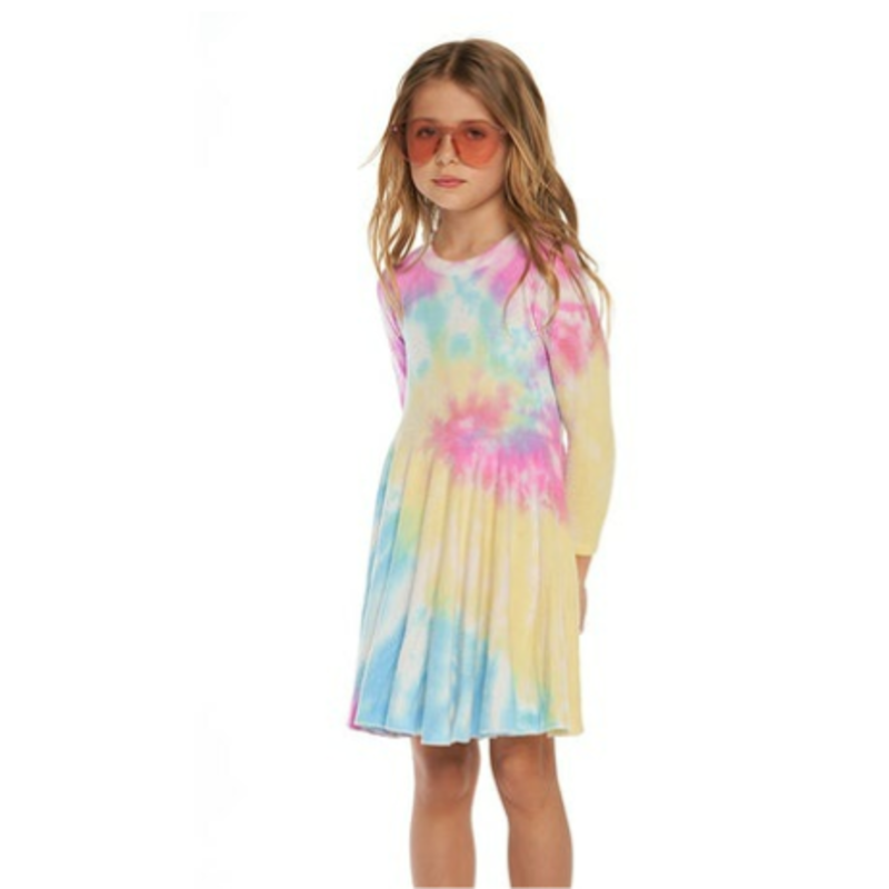 Chaser Chaser Party Tie Dye LS Waisted Dress