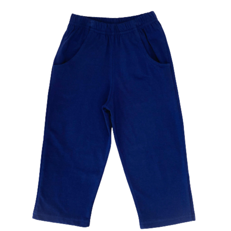 Luigi Luigi Jersey Straight Pants W Pockets - Dark Royal