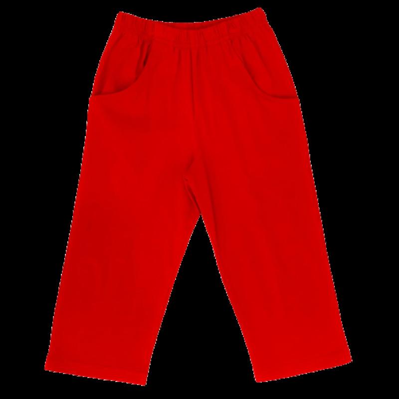 Luigi Luigi Jersey Straight Pants W Pockets - Deep Red