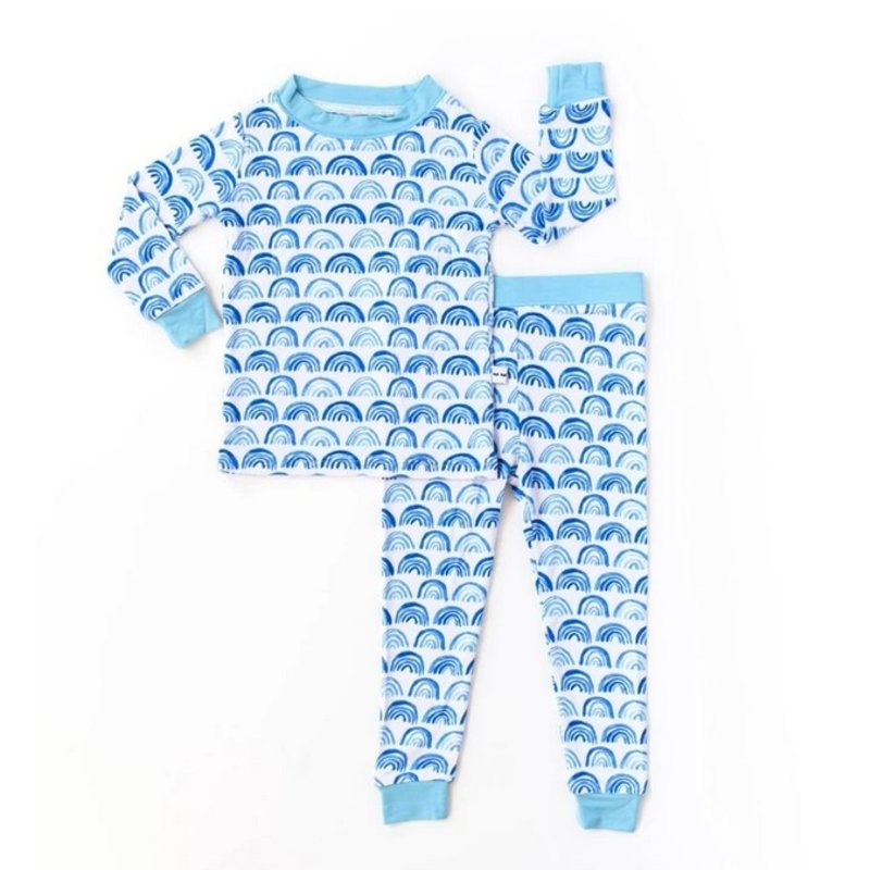 Little Sleepies Little Sleepies Blue Rainbows Two-Piece Pajamas