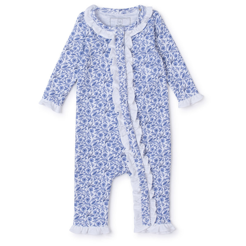 Lila + Hayes Lila + Hayes Blue Blooms Grey Romper
