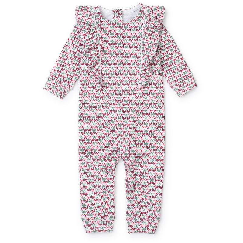 Lila + Hayes Lila + Hayes Christmas Bows Evelyn Romper *PRE-ORDER*