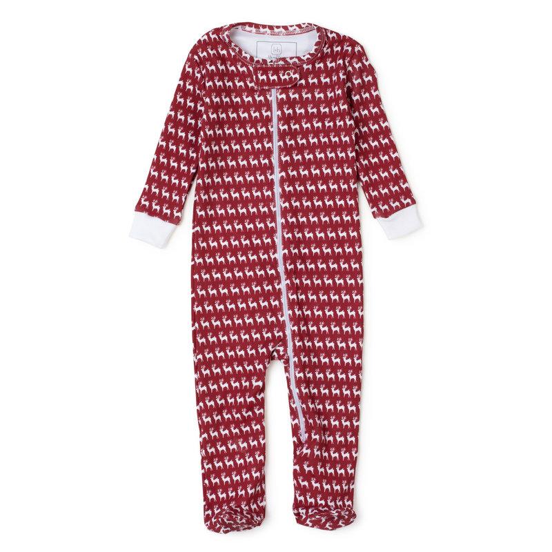 Lila + Hayes Lila + Hayes Red Reindeer Parker Zipper Pajama *PRE-ORDER*