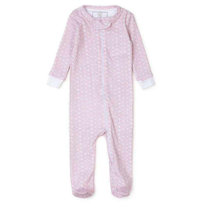 Lila + Hayes Lila + Hayes Pink Snowflakes Parker Zipper Pajama *PRE-ORDER*