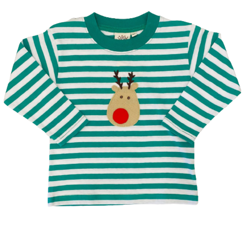 Luigi Luigi Kelly Green Stripe Rudolph T-Shirt