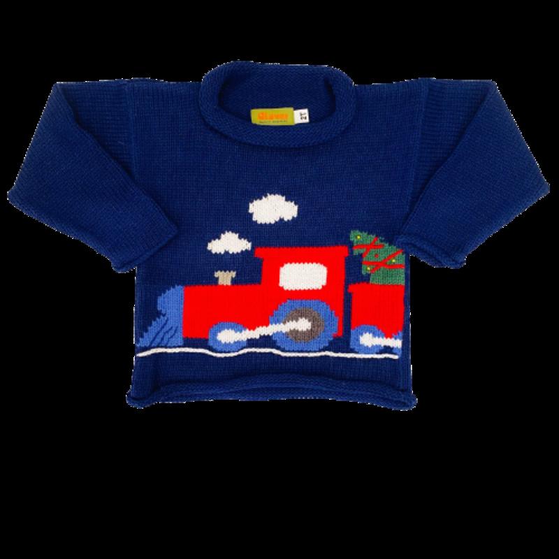 Luigi Luigi Train w/ Christmas Tree Rolled Neck Sweater