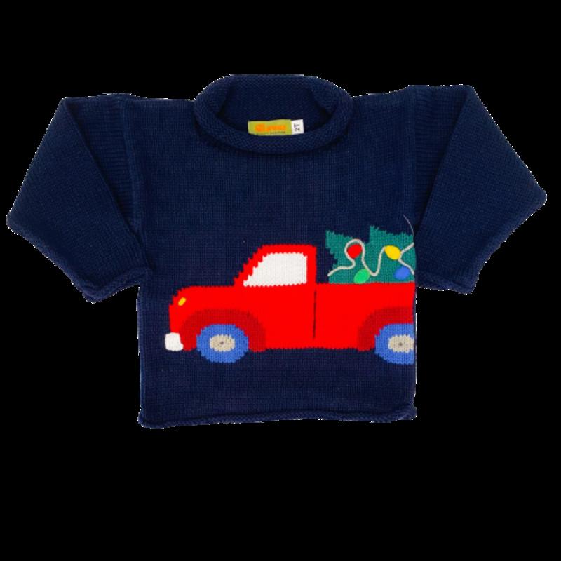 Luigi Luigi Pickup Truck w/ Christmas Tree Rolled Neck Sweater