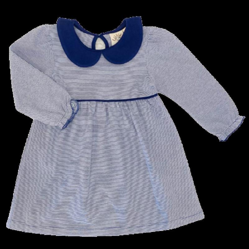 Luigi Luigi Dark Royal Mini Striped Collared Dress