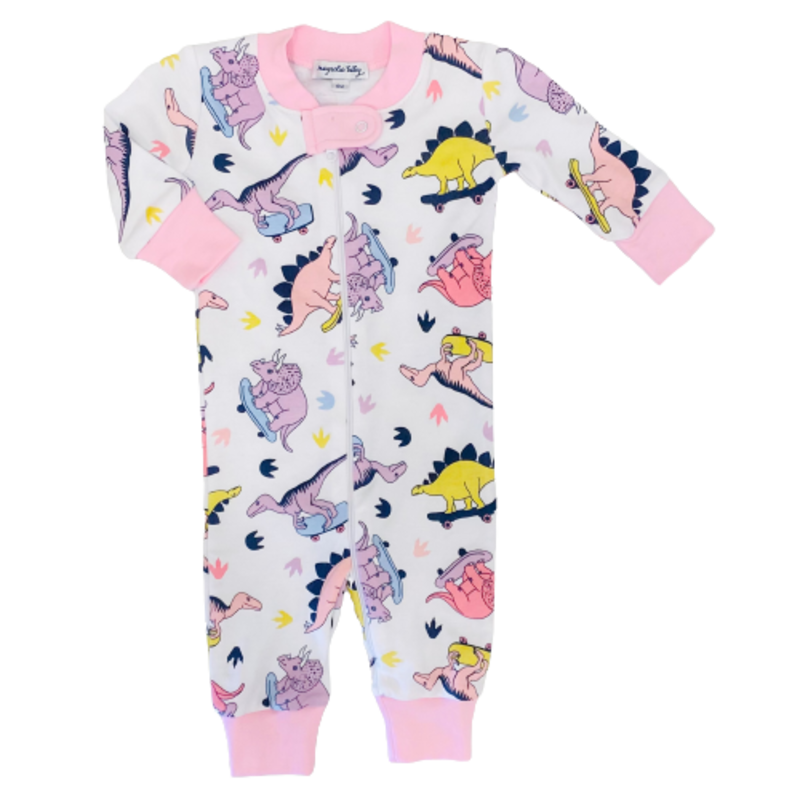 Magnolia Baby Magnolia Baby Skater Dinosaurs Pink Zipped Pajama