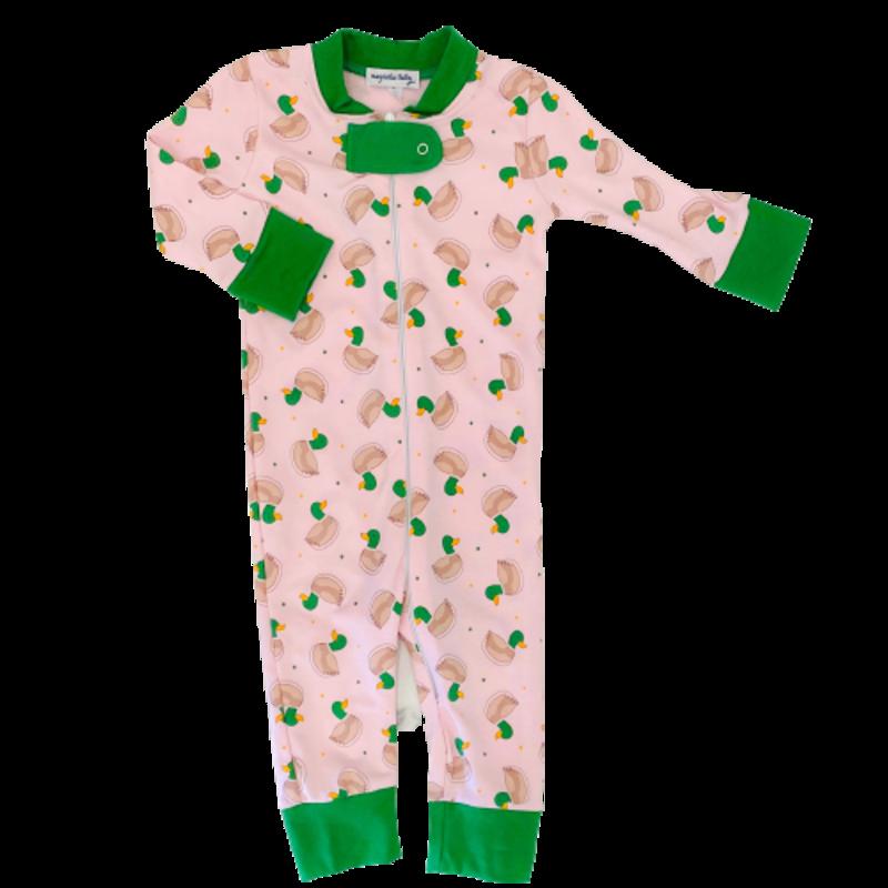 Magnolia Baby Magnolia Baby Tiny Mallard Pink Zipped Pajama