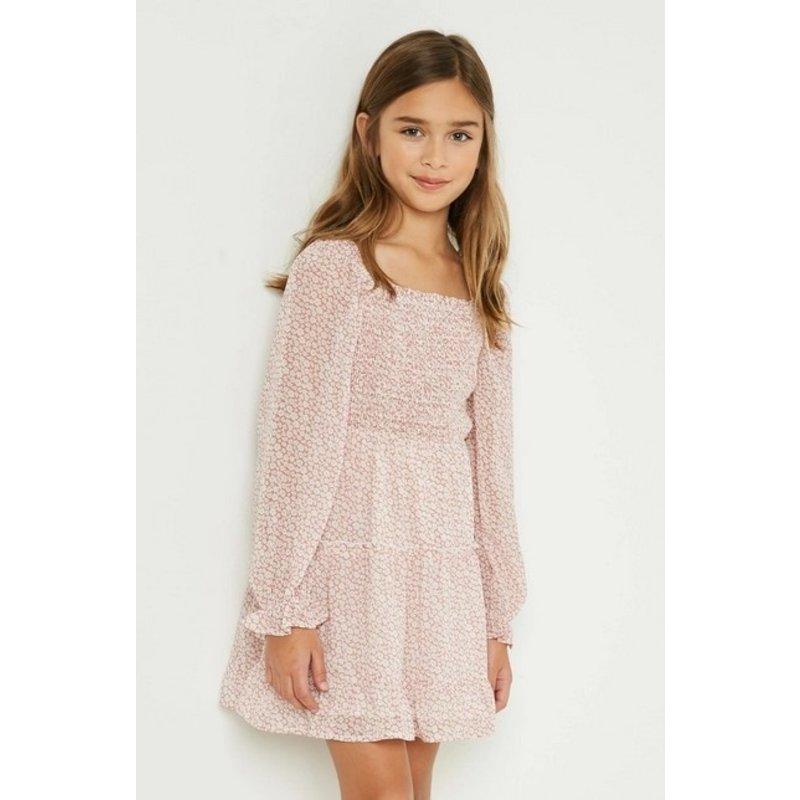 Hayden Girl Mauve Smocked Floral Dress