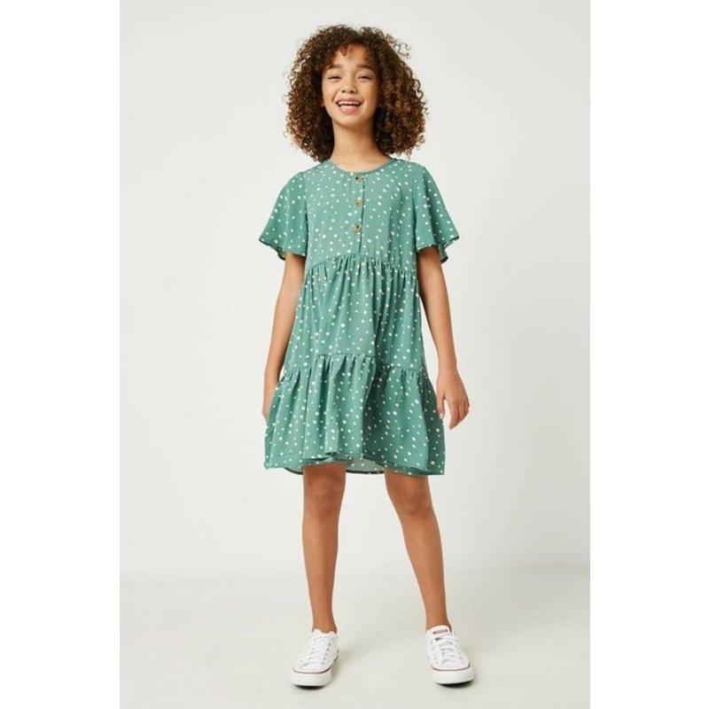 Hayden Girl Polka Dot Buttoned Sage Dress