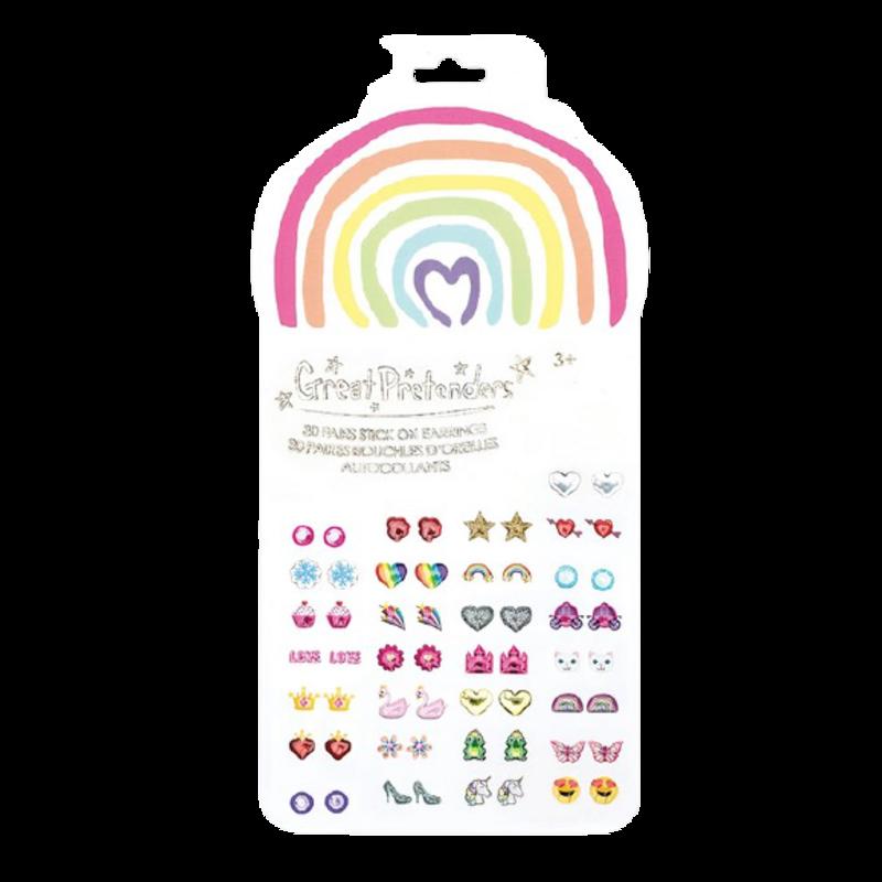Great Pretenders Great Pretenders Rainbow Love Stick On Earrings