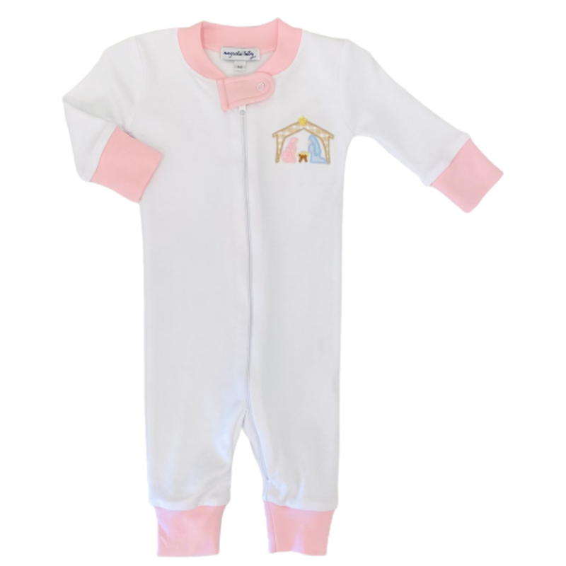 Magnolia Baby Magnolia Baby Away In The Manger Pink Zipped Pajama