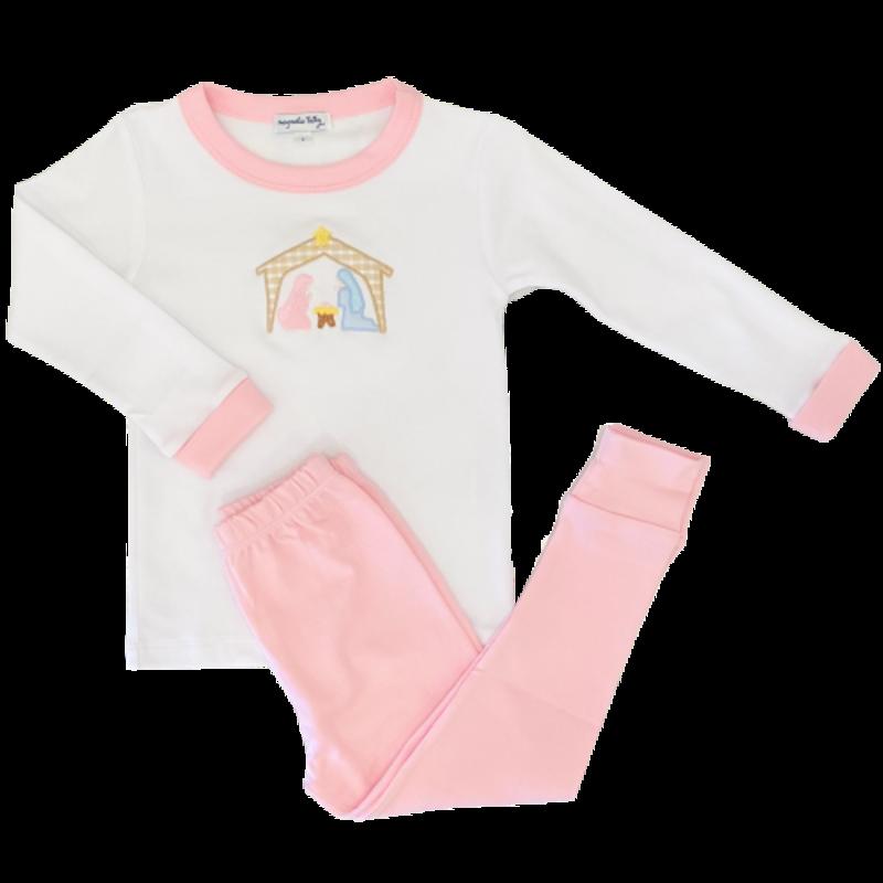 Magnolia Baby Magnolia Baby Away In The Manger Pink Long Pajama